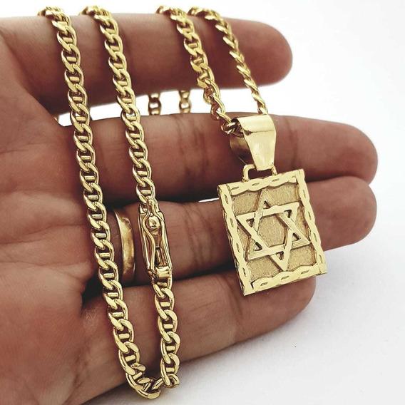 Corrente E Pingente Estrela De Davi Banhados A Ouro 18k