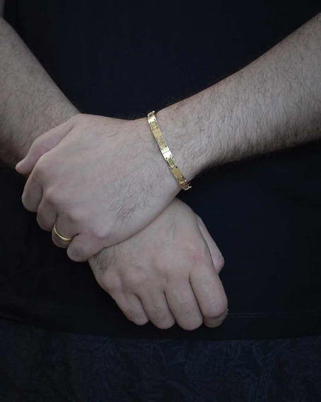 Pulseira Masculina Ouro 18k Amarelo E Branco I 750 Bracelete