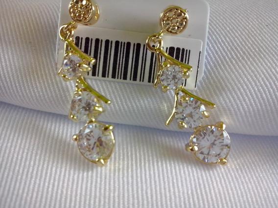 Brinco Folheado Ouro 18k Cristal Feminino Nova Moda Brilhant
