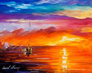Gravura Poster Hd Afremov 50x65cm Obra De Arte Mar Solitário