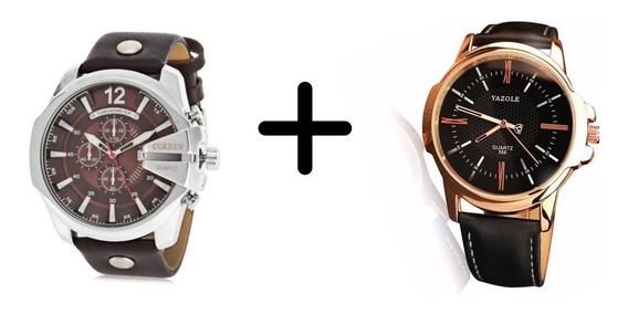 Kit 2 Relógios Masculino Curren Prata+ Yazole Preto