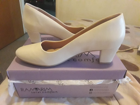 Zapatos Clasicos Mujer Cuero Ecologico Blanco Ramarim 5cm P.
