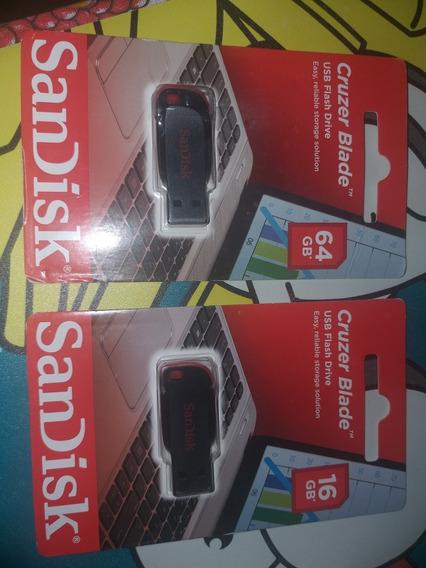 Kit Pendrive Sandisk, Contendo 1 Pendrive 64gb E 1 De 16gb