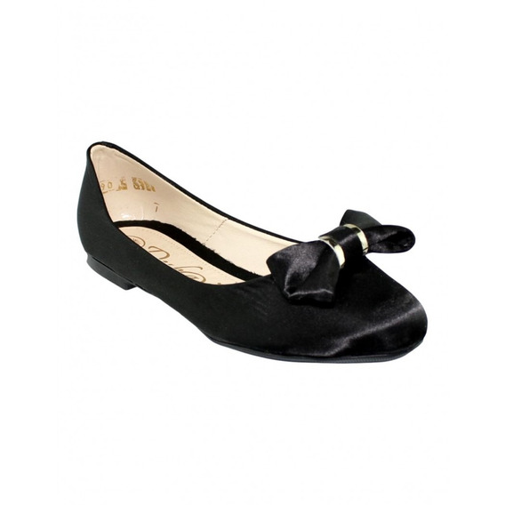 Flats Satin De Moda Negro-mod.0090du5223998