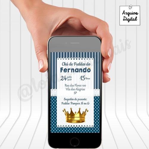 Imagem 1 de 2 de Convite Digital Chá De Fraldas Coroa Menino