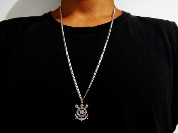Cordão 70cm 3mm Masculino Pingente Corinthians Prata Maciça