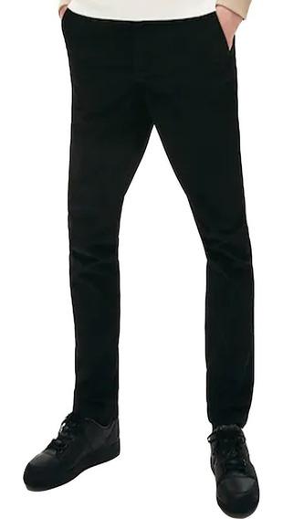 Pantalón Lacoste Hombre Chino Gabardina Slim Fit Negro