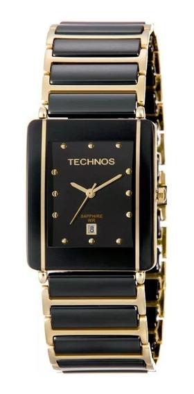 Relógio Quadrado Feminino Preto/dourado Ceramic Technos