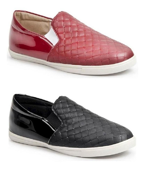 Kit 2 Slip On Casual Feminino Luma Ventura Metalassê