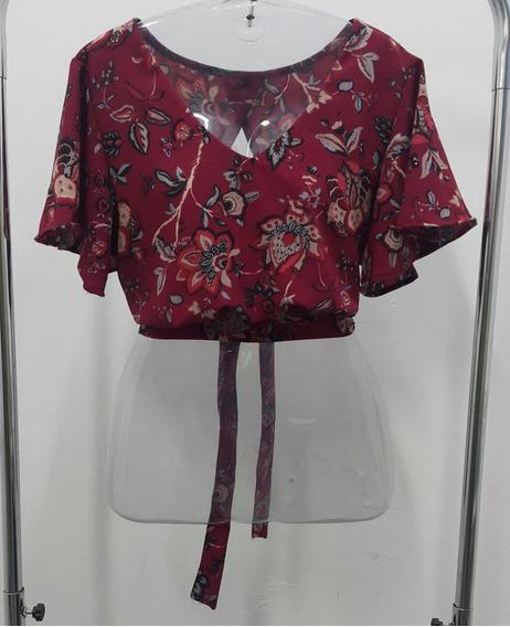 Blusa Cropped Floral De Amarrar