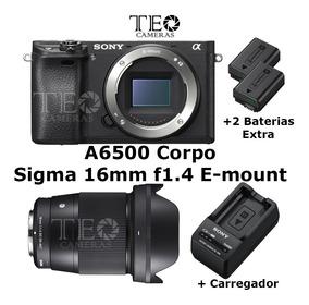 Sony A6500 Corpo +sigma 16mm F1.4 +2x Bat +carreg C/ Nfe