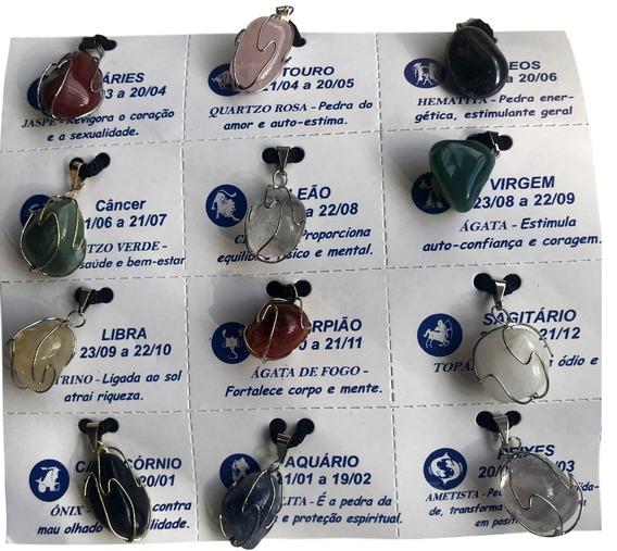 Kit 10 Colares Cordão Pedras Signos Sig 2018 Unid. Ref:523