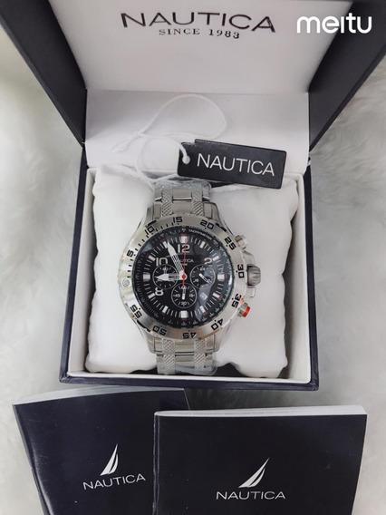 Relógio Cdr8547 Nautica N19508g Prata Fundo Preto Com Caixa