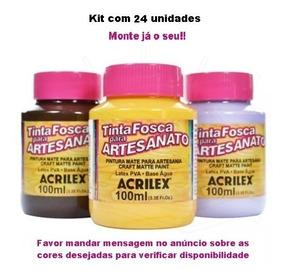 Kit Com 24 Tintas Pva Para Artesanato Acrilex 100 Ml