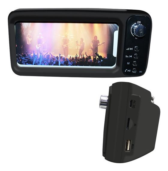 Caixa De Som Bluetooth Mb-8 Usb Mp3 Aux Com Suporte Celular