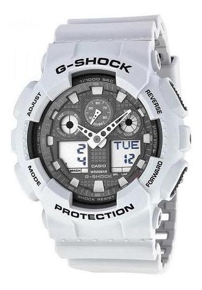 Relógio Casio Gshock Branco Ga100 Anadigi P/entrega Novo
