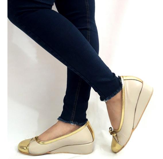 Zapatos Taco Chino Cuero Sam123 Oferta Talles Grandes Hueso Y Oro