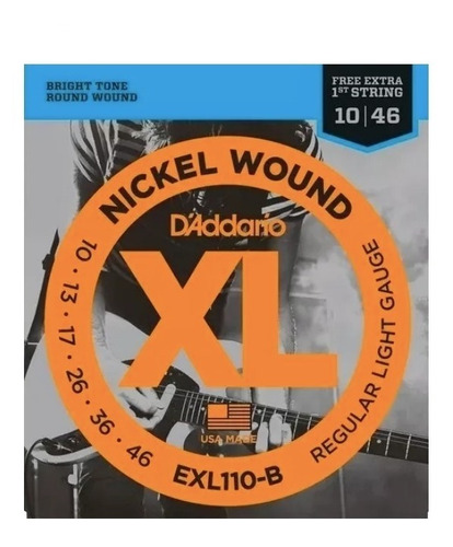 Encordoamento Guitarra D´addario 010 Exl110 S/ Embalagem