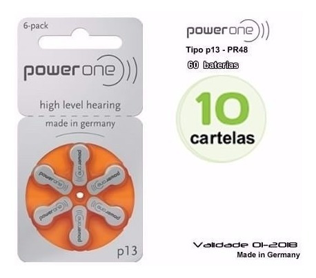 Baterias Aparelho Auditivo/power One P13 - Cx C/10 Cartelas