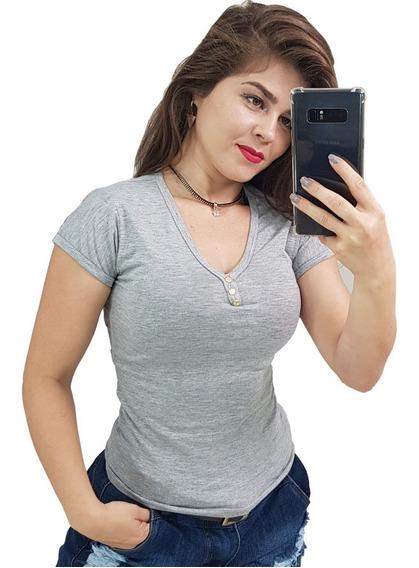Kit 2 Camiseta Feminina Básica Gola V Varias Cores Promoção