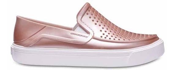 Zapato Crocs Niña Citilane Roka Slip Kids Metálicos