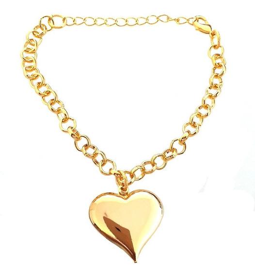 Pulseira Elos Com Pingente Coração Pendurado Folheado A Ouro