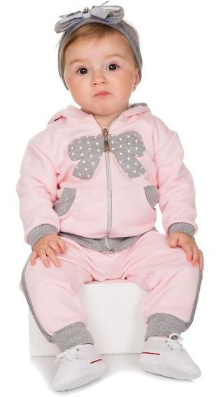 Roupa De Bebê Menina Conjunto Moletom Zíper Bolso E Capuz