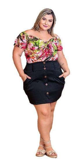 Conjunto Plus Size Short E Blusa Ciganinha Estampada Gg