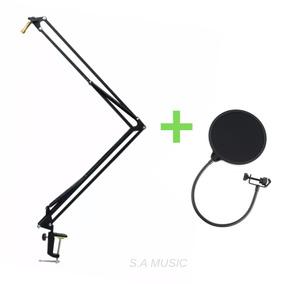Pedestal Suporte Braço Mesa Articulado Microfone+ Pop Filter