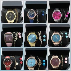 Relógios Femininos Kit C/ 5 Em Atacado Com Pulseira+baterias