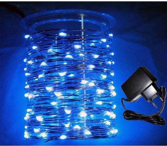 Cobre Luz Fadas Flexível Azul 100 Leds 10m + Fonte Bivolt