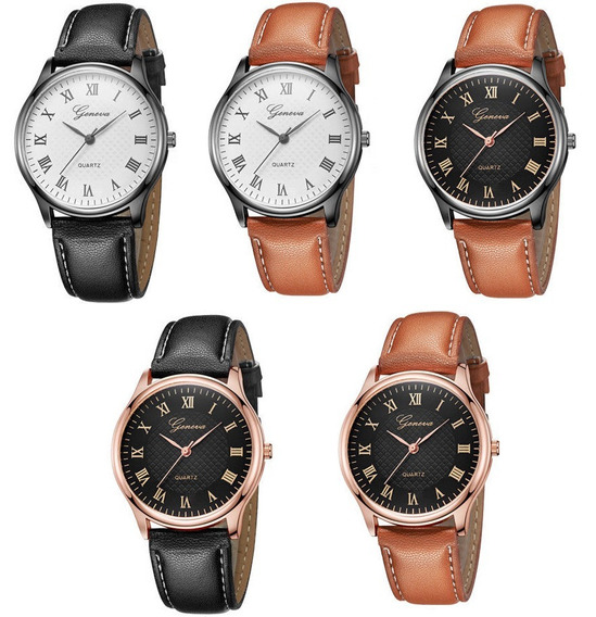 Kit Com 5 Relógios Feminino Analógico Super Luxo M/ Geneva