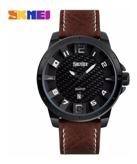 Relógio Skmei 9150 Couro Original Analógico Promoção C/caixa