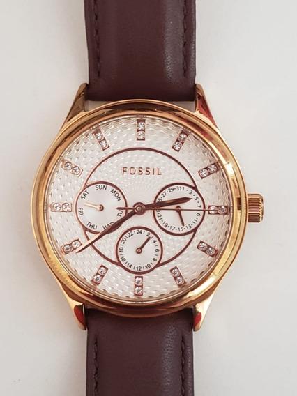 Relógio Fossil Feminino - Rose E Marrom