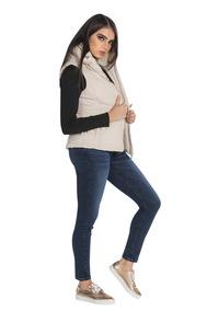 Chaleco Dama Peluche Nylon Ligero Beige R83204