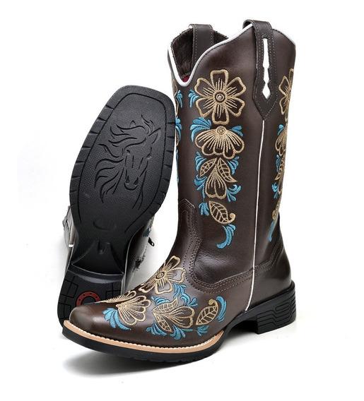 Bota Texana Feminina Bico Quadrado Cano Longo Bordado Flor