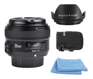 Lente 35mm F2 Yongnuo Para Nikon + Parasol | Bolso | Paños.