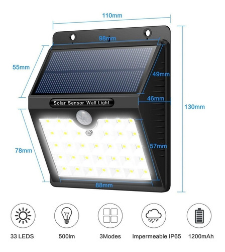 Lampara Foco Led Luz Panel Solar Sensor Movimiento