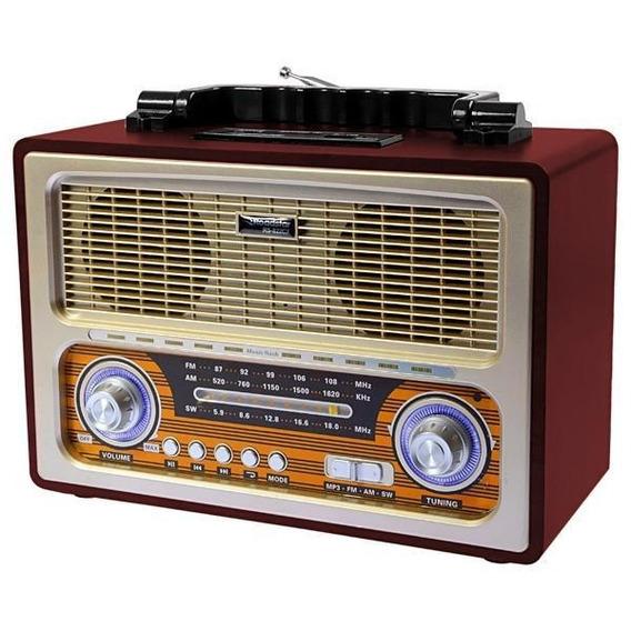 Rádio Retro Bluetooth Am Fm Sw Vintage Recarregavel Usb Sd