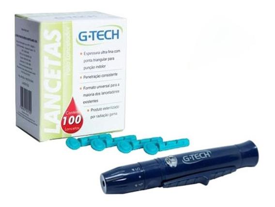 Kit Caneta Lancetadora Curta Azul Com 100 Lancetas 28g Gtech