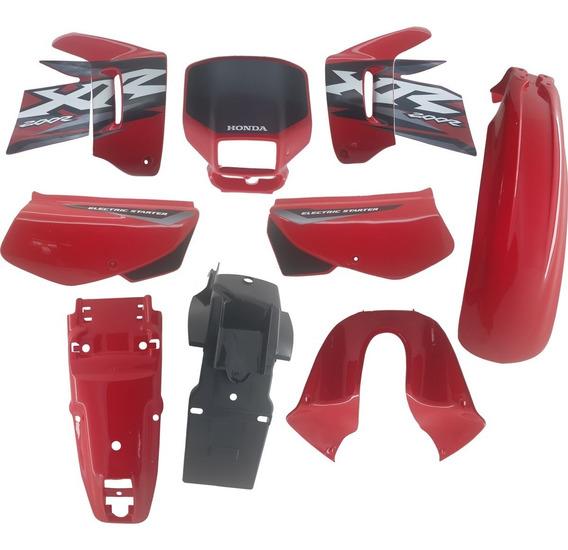 Kit Carenagem Adesivado Xr 200 Vermelha 2002 - 9 Peças