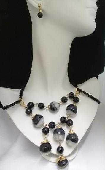 Set Collar Y Aretes Con Cuarzo Chapa De Oro Diseño Original
