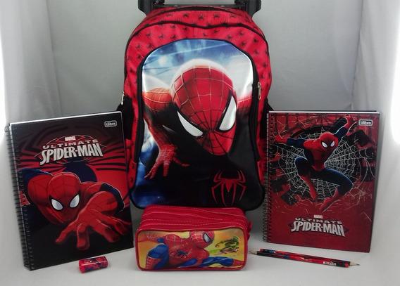 Kit Material Escolar Spider-man - Mochila Estojo Caderno Láp