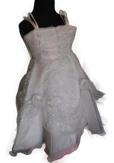 Vestido Nena Fiesta Blanco Corsage Perlas Y Brillo