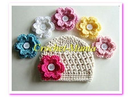 Gorros Tejidos A Crochet Con Flores 6 Intercambiables Niñas
