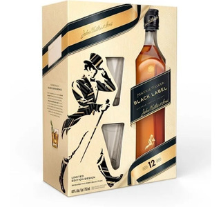 Whisky Johnnie Walker Black Label Negro + 2 Vasos