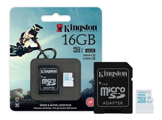 Cartao De Memoria Cl10 Kingston Sdcac/16gb Action Uhs-i U3