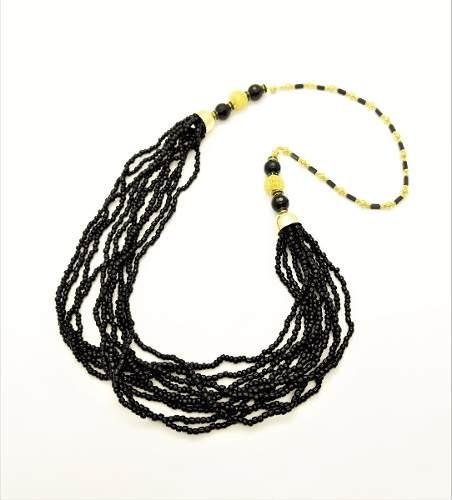 Colar Ônix, Balões E Contas Longo Banhado Ouro 18k 4488