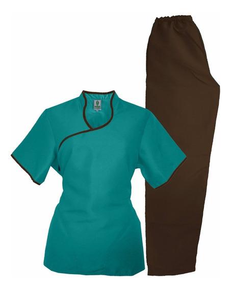 Conjunto Dynasty Cd10 Azul Acuario/castaño Uniforme Medico