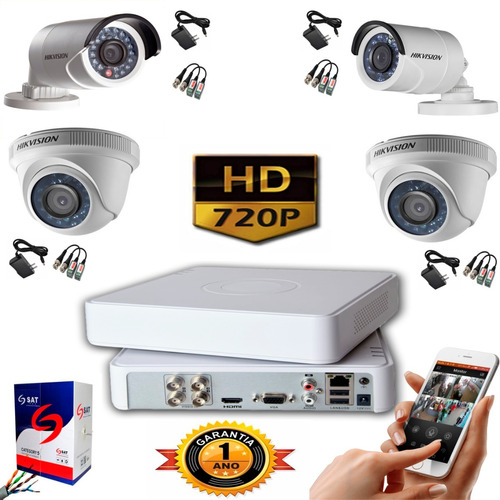 Kit Hikvision Turbo Hd  Cctv Dvr 4c + 4 Camaras + 50mt Cable
